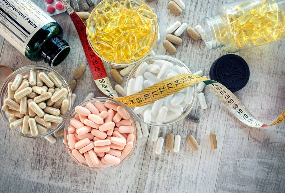 different supplements on a table