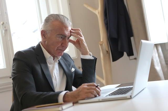 elderly man stressing