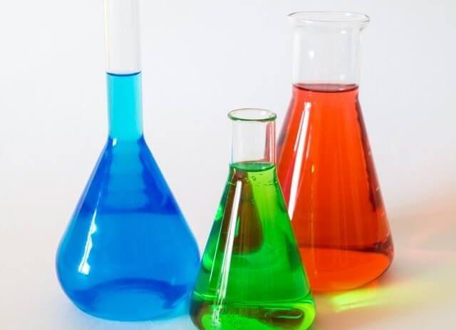 lab equipment filled with liquids