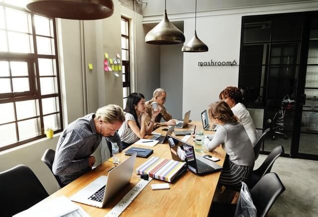work inside small office